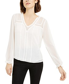 Long-Sleeve V-Neck Blouse