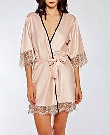 Contrast-Trim Silky Robe with Eyelash Flower Lace