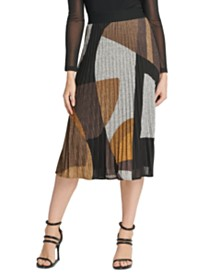 DKNY Printed Pleated Skirt
