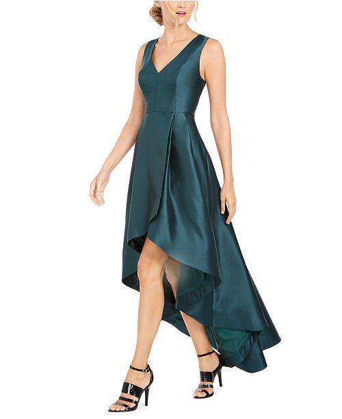Calvin Klein V-Neck Satin High-Low Gown