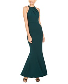 Calvin Klein Sequined-Back Halter Gown