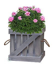 Gardenised Distressed Wood Crate Planter