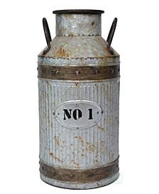 Galvanized Metal Rustic Milk Can, Large