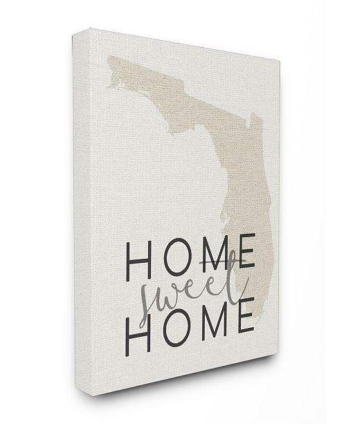 """Stupell Industries Home Sweet Home Florida Typography Canvas Wall Art, 16"""" x 20"""""""