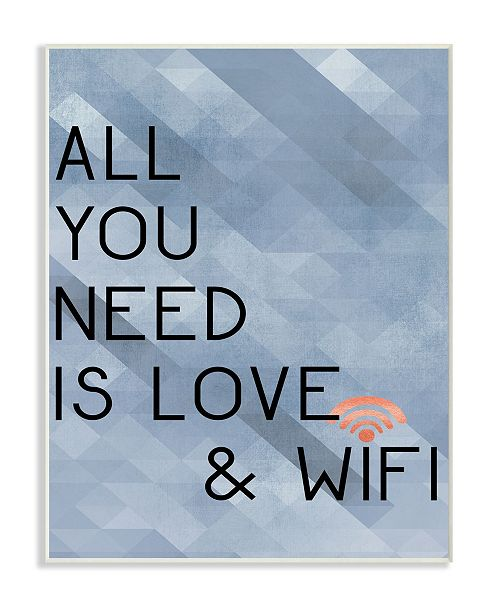"Stupell Industries All You Need is Love and WiFi Blue Typography Wall Plaque Art, 10"" x 15"""