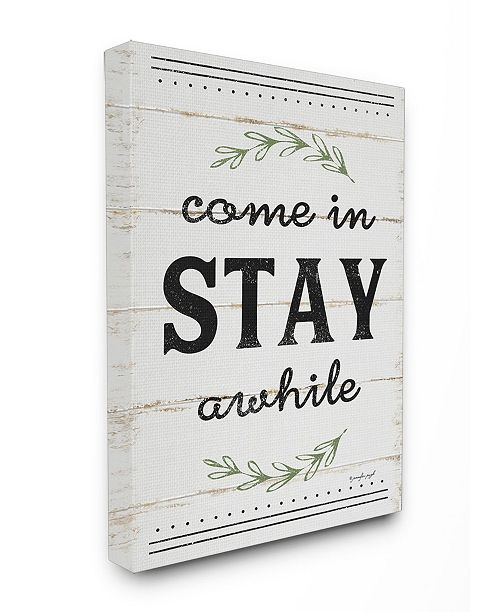 "Stupell Industries Come Stay Awhile Rosemary Typography Distressed White Canvas Wall Art, 24"" x 30"""