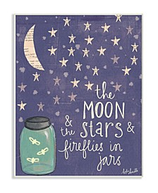 "Moon Stars Fireflies Wall Plaque Art, 10"" x 15"""
