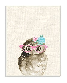 """Stupell Industries Woodland Owl with Cat Eye Glasses Wall Plaque Art, 10"""" x 15"""""""