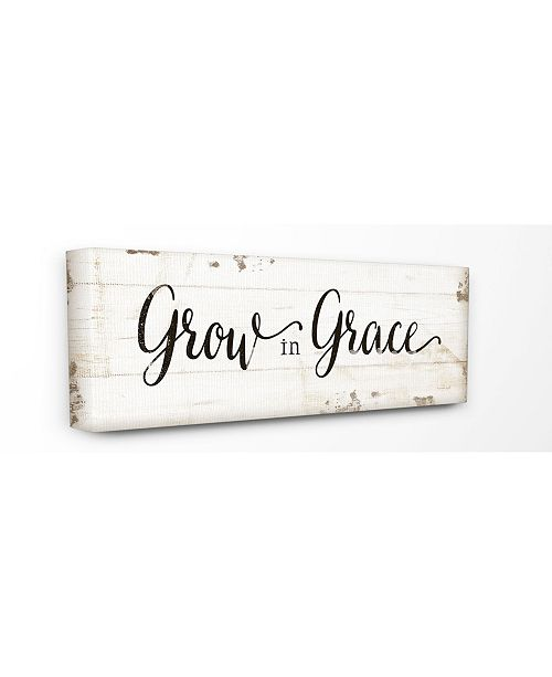 Grow in Grace Cursive Typography Canvas Wall Art, 10 x 24