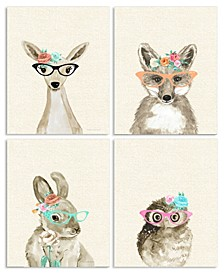 """Woodland Critters with Cat Eye Glasses 4 Piece Wall Plaque Art Set, 10"""" x 15"""""""