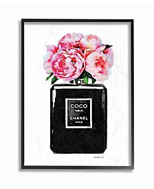 Glam Perfume Bottle Flower Black Peony Pink Wall Art Collection