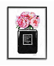 "Stupell Industries Glam Perfume Bottle Flower Black Peony Pink Framed Giclee Art, 11"" x 14"""