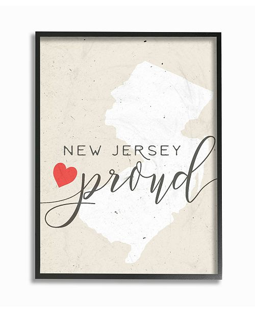 "Stupell Industries New Jersey Proud with Heart Framed Giclee Art, 16"" x 20"""