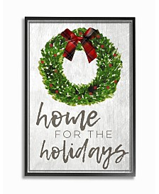 "Stupell Industries Home for the Holidays Wreath Bow Christmas Framed Giclee Art, 16"" x 20"""
