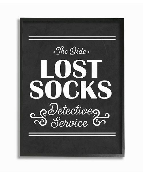 "Stupell Industries Olde Lost Socks Detective Service Framed Giclee Art, 16"" x 20"""