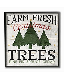 "Farm Fresh Christmas Trees Framed Giclee Art, 12"" x 12"""