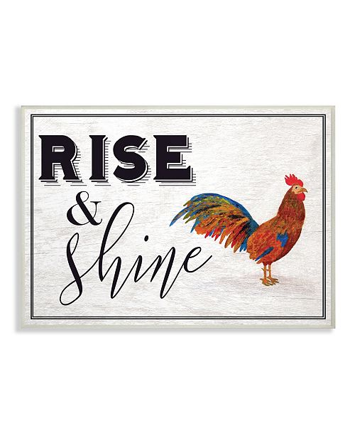 """Stupell Industries Rise And Shine Rooster White Wall Plaque Art, 10"""" x 15"""""""