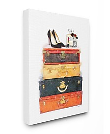 "Stupell Industries Luggage Stack Shoes and Makeup Canvas Wall Art, 16"" x 20"""