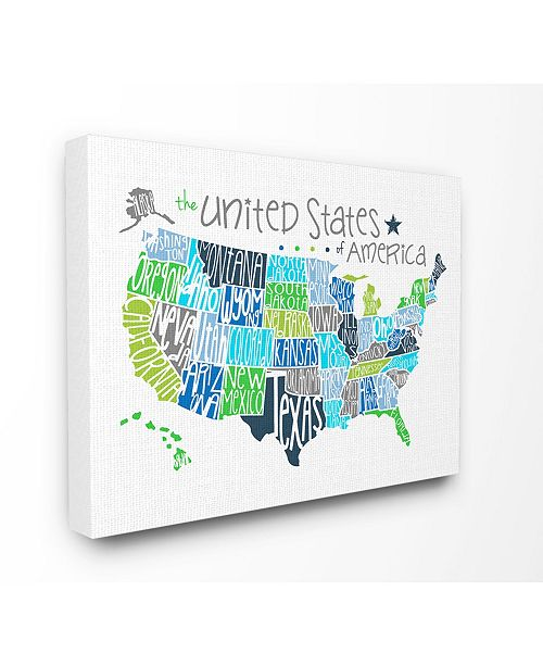 """Stupell Industries United States Map Colored Typography Canvas Wall Art, 16"""" x 20"""""""