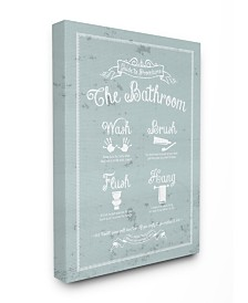 """Stupell Industries Guide To Procedures Bathroom Blue Canvas Wall Art, 16"""" x 20"""""""