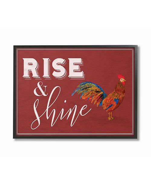 """Stupell Industries Rise And Shine Rooster Red Framed Giclee Art, 16"""" x 20"""""""