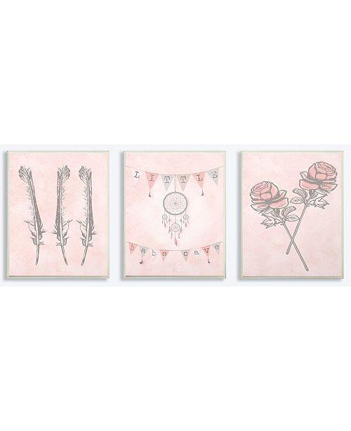 "Stupell Industries Little Babe Cave Dreamcatcher Flowers Pink 3 Piece Wall Plaque Art Set, 10"" x 15"""