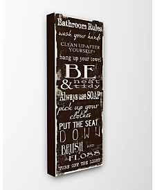 """Stupell Industries Bathroom Rules Chocolate White Canvas Wall Art, 10"""" x 24"""""""
