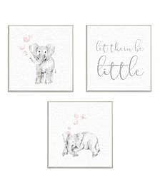 """Let Them Be Little Elephants And Bubbles 3 Piece Wall Plaque Art Set, 12"""" x 12"""""""