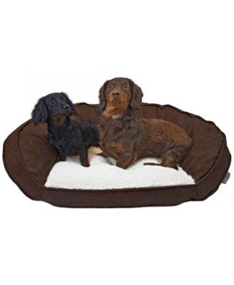 Vegan Leather Curved Orthopedic Memory Foam Sofa Pet Bed - Medium