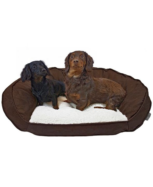 Precious Tails Vegan Leather Curved Orthopedic Memory Foam Sofa Pet Bed Collection