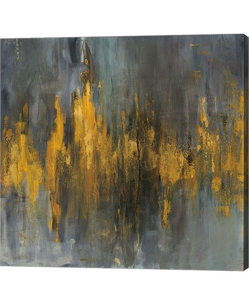 "Metaverse Black and Gold Abstract by Danhui Nai Canvas Art, 24.5"" x 24"""