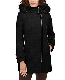 Faux-Fur-Trim Hooded Asymmetrical Coat