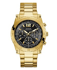 GUESS Men's Chronograph Gold-Tone Stainless Steel Bracelet Watch 46mm