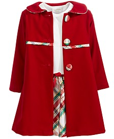Little Girls 2-Pc. Plaid Dress & Velvet Jacket Set