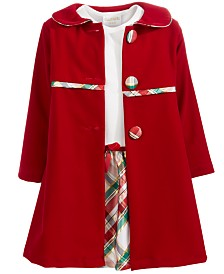Blueberi Boulevard Little Girls 2-Pc. Plaid Dress & Velvet Jacket Set