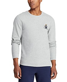Polo Ralph Lauren Men's Ski & Rugby Bear Waffle Pajama Shirt, Created for Macy's