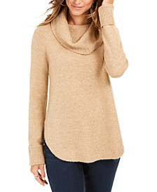Cowl-Neck Waffle-Knit Sweater, Created For Macy's