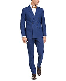 Men's Slim-Fit Ready Flex Performance Stretch Double Breasted Blue Slim Stripe Suit