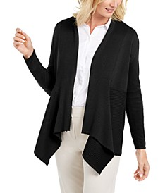 Petite Mixed-Ribbed Flyaway Cardigan, Created for Macy's