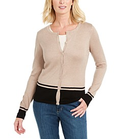 Petite Colorblocked-Hem Cardigan, Created For Macy's