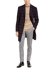 Men's Modern-Fit Performance Stretch Flex Red/Blue Plaid Overcoat