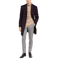 Tommy Hilfiger Men's Modern-Fit Flex Plaid Addison Overcoat