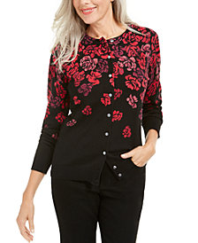 Karen Scott Serenity Floral-Print Cardigan, Created For Macy's