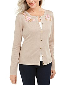 Petite Floral-Embroidered Cardigan, Created For Macy's