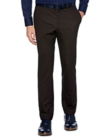Men's Slim-Fit Stretch Plaid Ponte-Knit Pants