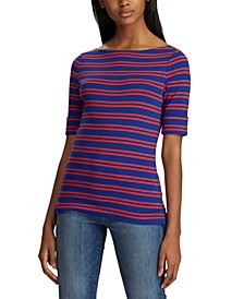 Stripe-Print Boatneck Stretch Top