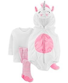 Baby Girls 3-Pc. Little Unicorn Costume