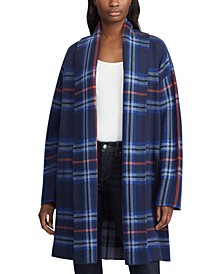 Plaid-Print Open-Front Sweater