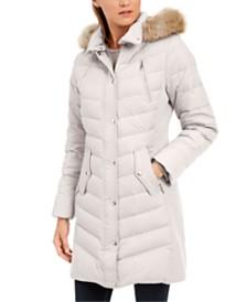 Michael Michael Kors Petite Faux-Fur-Trim Hooded Down Coat, Created For Macy's