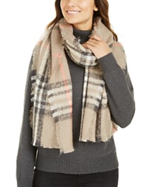 FRAAS Bouclé Plaid Wrap, Created For Macy's